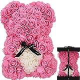 Oso de Rosas Flores Artificiales Peluche Oso - Regalos Originales para Mujer Regalo Mujer Novias Regalo Madres Regalos Mujeres Rosas Artificiales Aniversario cumpleaños de San Valentín (Rosado)