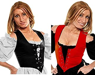 Faire Lady Designs Ships Out Same Day - Renaissance Costume Caribbean Pirate Peasant Wench Bodice Corset Red/Black