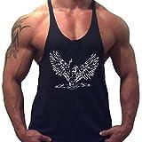 Herren Fitnessstudio Stringer Tank Tops Bodybuilding Fitness Muskelshirt Baumwolle Color Schwarz Size Large