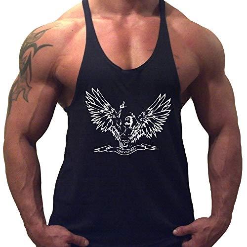 Herren Fitnessstudio Stringer Tank Tops Bodybuilding Fitness Muskelshirt Baumwolle Color Schwarz Size X-Large