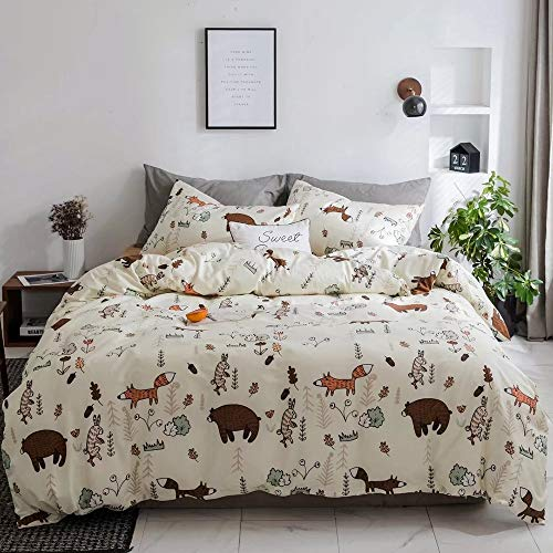 CLOTHKNOW Yellow Bear Duvet Cover Sets Queen Cotton Boys Bedding Set Full Fox Woodland Rabbit Theme Pattern Cartoon Animal Bedding Duvet Cover 3Pcs Bedding Set with Zipper Closure for Child Bed