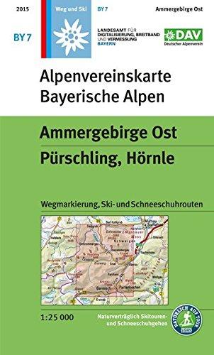 Ammergebirge Ost, Pürschling, Hörnle: Topographische Karte 1:25.000, Wegmarkierung, Ski- und Schneeschuhrouten (Alpenvereinskarten)
