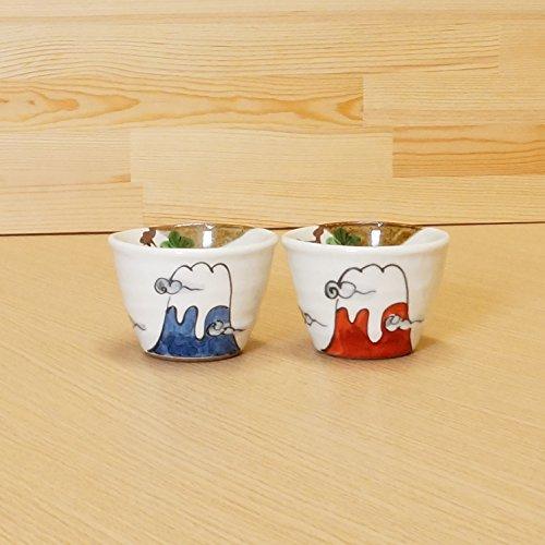 [Ensemble de 2 tasses] Parc de poterie Yunomi (Tasse à thé) Rouge et Bleu MT. Fuji à partir du Japon 02705144 & 02705145