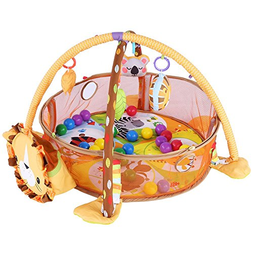 Cikonielf Bonita esterilla de escalada para bebés (con cerca), para jugar al gimnasio o para gatear con malla de seguridad, bolas de colores (Lion)