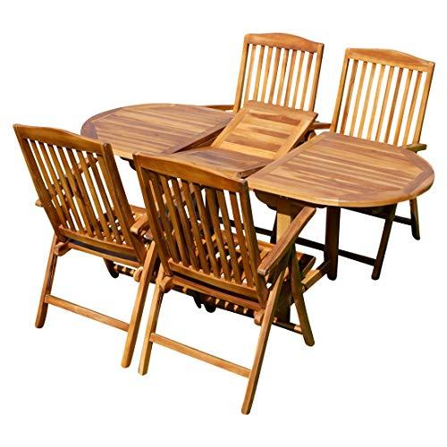 ASS Gartengarnitur mit Ausziehtisch 180cm und 4/6/oder 8 Hochlehner Sessel klappbar aus Teak Eukayptus Holz von Farbe:Teak Ausziehtisch 140-180x80+4Hochlehner