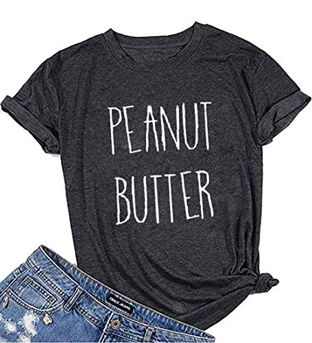 NANYUAYAKY Summer Cute Letter Print Women Short Sleeve Funny T-Shirt Top Tee (Small, Dark Grey)