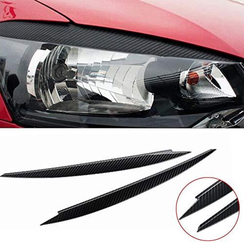 HCHD 2 x Scheinwerfer-Augenbraue Augenlid-Abdeckungs-Ordnung for VW Golf 7 VII GTI GTD R MK7 2013-2017 Carbon Fiber Auffällige anzeigen Easy Install