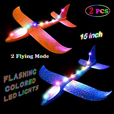 MIMIDOU 2 pcs Flashing Luminous Glider Plane 2 Flight Mode Aerobatic Superb Charming Shining Foam Airplane can Fly at Night for Kids as The Best Gift. from MIMIDOU