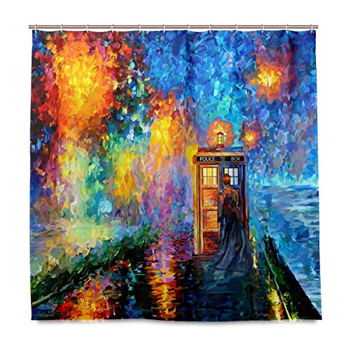 AORSTAR Duschvorhang d¨¦COR The 10th Doctor who Starry The Night Art Waterproof Shower Curtain Eco-Friendly Tie-Dye Decor 72x72 Inch