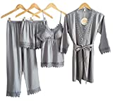 Laura Lily - Pijama Mujer de Seda Satén a Rayas Color Liso con Encaje Conjunto de 4 Piezas (Gris Plata, XS-S)
