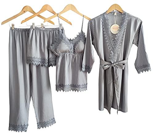 Laura Lily - Pijama Mujer de Seda Satén a Rayas Color Liso con Encaje Conjunto de 4 Piezas (Gris Plata, L-XL)