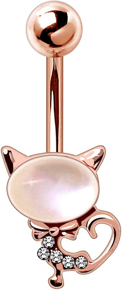 Dynamique Rose Gold Plated Cat's Eye Cat Belly Button Ring (Sold Per Piece)