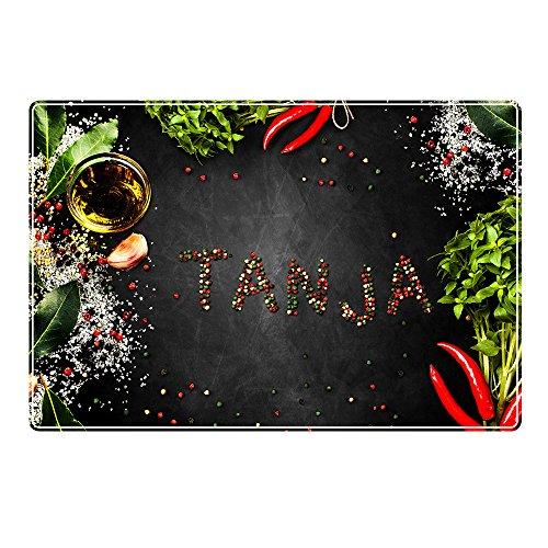 Tischset mit Namen ''Tanja'' Motiv Pfeffer - Tischunterlage, Platzset, Platzdeckchen, Platzunterlage, Namenstischset