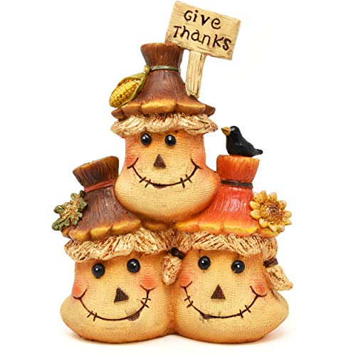 Gift Boutique Thanksgiving Decorations Give Thanks Scarecrow Sack Figurine Table Topper Harvest Autumn Resin Centerpiece Fall Figure for Fireplace Mantle Porch Garden Yard Home Party Decor Accessories