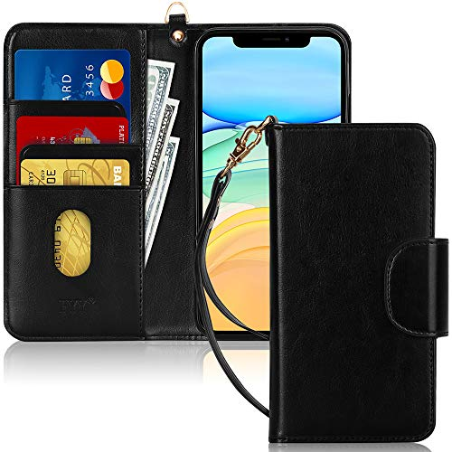 "FYY Case for iPhone 11 6.1"", [Kickstand Feature] Luxury PU Leather Wallet Case Flip Folio Cover with [Card Slots] and [Note Pockets] for Apple iPhone 11 6.1 inch Black"