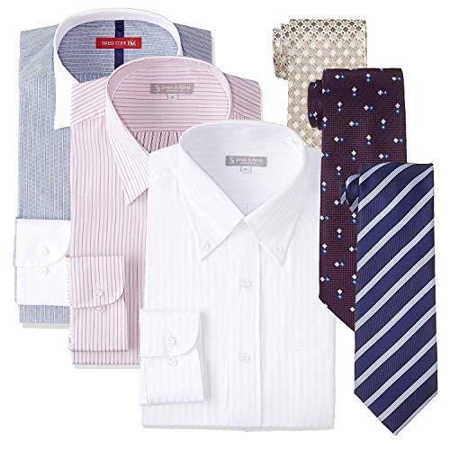[ドレスコード101] 形態安定 長袖 ワイシャツ ネクタイ 6点セット 福袋 プレゼントにも最適 おしゃれなコーディネート選べる10サイズ FUKU-S3N3 メンズ 福袋6点セット 首回り39cm×裄丈82cm Slim