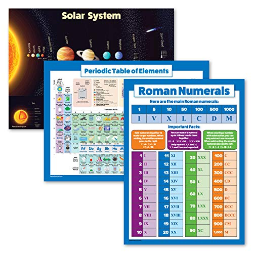 """3 Pack - Solar System Poster + Periodic Table of The Elements for Kids + Roman Numerals Chart (Laminated, 18"""" x 24"""")"""