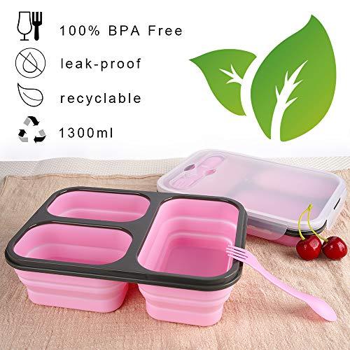 Vancely Premium Bento Lunchbox, Folding Food Storage 3 Trays Auslaufsicher - Mikrowellengeeignetes, BPA-freies, geruchloses und Geschmackloses Lunchbox-Bento-Set für Kinder & Erwachsene