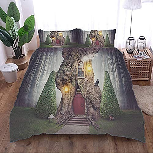 YYZCM Duvet Cover with 2 Pillowcases 3D Printed tree house Bedding Set with Zipper Closure Unique Design Anti-allergic Double Duvet Cover Set Single,Double size 200x200cm/78.5x78.5 inches