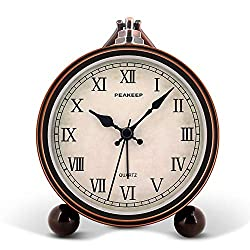 Peakeep 4 Battery Operated Antique Retro Analog Alarm Clock, Small Silent Bedside Desk Gift Clock