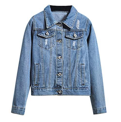 KUKICAT Jeansjacke Damen Blau Kurz Langarm Jeansjacke Sweater