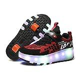 Zapatos De Patinaje con Ruedas con Doble Rueda LED Glitter Skateboarding Shoe USB Cargando Niños Y Niñas Entrenadores Cruzados Gimnasia Zapatillas De Deporte Adulto Joven,Negro,36