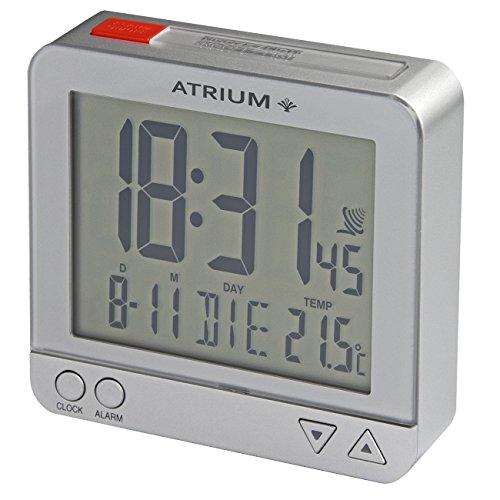 Atrium digitaler Funk-Wecker LCD sensorgesteuerte Nachtlicht-Funktion Schlummer-Funktion Obenabsteller Reise-Wecker Silber/rot A740-19