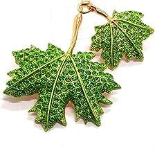 Metalen Dubbele Sleutelhangers Van Esdoornblad, Auto-hangers, Tassen, Accessoires, Kleine Geschenken groen