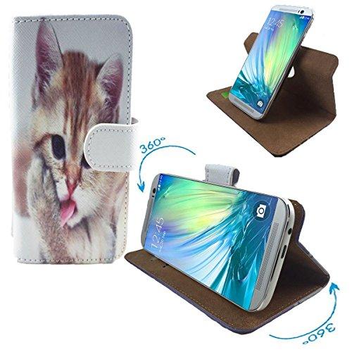 PHICOMM Energy L Smartphone Tasche / Schutzhülle mit 360° Dreh & Standfunktion - 360° Katzen 2 Nano M