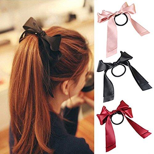 3pcs(Pink+Black+Red) Fashion Satin Ribbon Bow Hair Band Rope Ponytail Holder Best for Women Girls