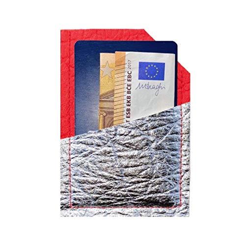 Wallet Ananasleder VEGAN & NACHHALTIG aus PINATEX Kreditkarten Portemonnaie I Kreditkartenklammer I credit card skin - rot silber