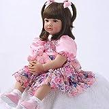 Zero Pam 60cm Reborn Silicona Muñecas De Bebé De Aspecto Real 24 Pulgadas Muñecas Renacidas para Niños Princesa Púrpura Tutú Falda Niñas Muñecas De Silicona Reborn Baby Dolls for Girls