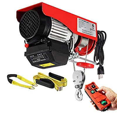 Partsam 1320lbs Automatic Lift Electric Cable Hoist with Wireless Remote Control 110V Overhead Crane Garage Ceiling Pulley Winch w Towing Strap Sling, Electric Wire Rope Hoist, 38ft Lift Height