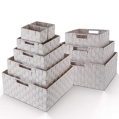 Homfa 9 Cestas Almacenaje Organizador de Cajones Cajas Plásticas con Efecto de Mimbre y Asas para Dormitorio Cocina Oficina Baño Beige