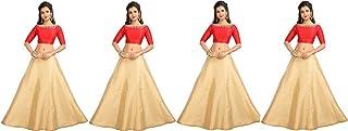 STUDIO Shringaar Women's Golden Polyester Skirt Lehenga Special Pack Of 4 Skirts