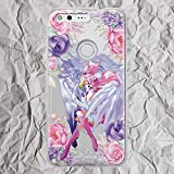 Anime Pixel 3 3a XL 2 2XL Case Inspired by Chibi Sailor Moon Chibiusa and Pegasus Helios for LG G5 G6 Google Pixel 3XL 2 XL Cute Floral Flowers Phone Case for Women Girls Gifts Silicone Clear Cover