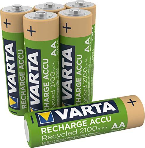 VARTA Recharge Akku Recycled (Wiederaufladbar, Ready-to-Use vorgeladener AA Mignon NI-MH Akku ( 2100 mAh), aus 11 Prozent recyceltem Material, ohne Memory Effekt) 6er Pack