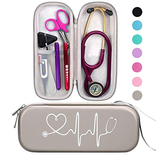 BOVKE Travel Carrying Case for 3M Littmann Classic III, Lightweight II S.E, MDF Acoustica Deluxe Stethoscopes - Extra Room for Medical Bandage Scissors EMT Trauma Shears and LED Penlight, Grey