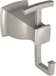 Moen Hensley Bathroom Double Robe Hook with Press and Mark in Chrome