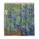 MOFEIYUE Duschvorhänge Van Gogh Iris Blume Wasserdicht Badvorhang Badezimmer Home Decor 167,6 x 182,9 cm mit 12 Haken 168 x 182 cm iris