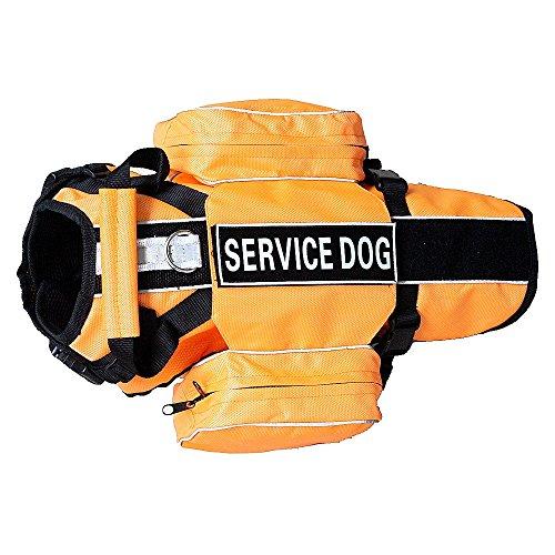 haoyueer SERVICE - Mochila para perro con arnés extraíble con parches de etiqueta (largo se adapta a circunferencia de 26 a 31 pulgadas, naranja)