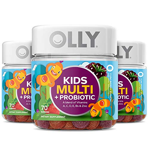 OLLY Kids Multivitamin + Probiotic Gummy, Vitamins A, C, D, E, B, Zinc, Probiotics, Chewable Supplement, Berry Flavor, 70 Count (3 Pack)