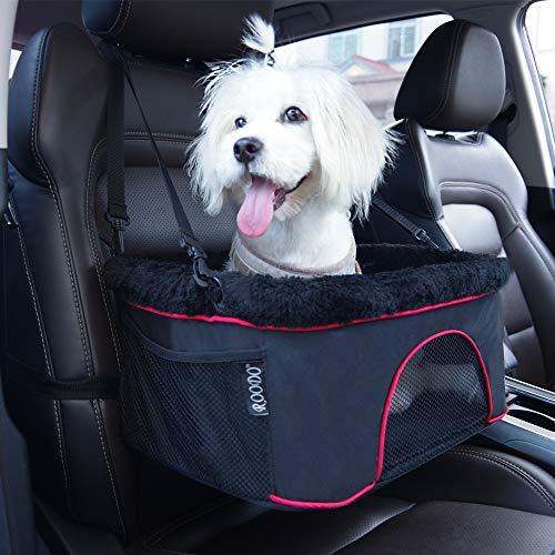 Roodo Autositz für Hunde und Katzen, hochwertige Metallrahmenkonstruktion, Sicherheitsleine, Teleskop-Tasche, perfekt für kleine und mittelgroße Haustiere bis zu 3,6 kg