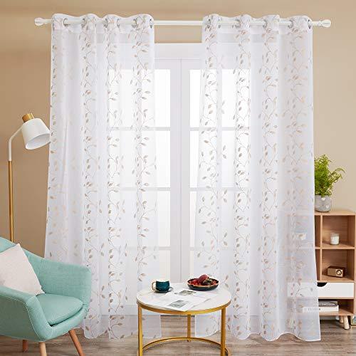 Deconovo Cortinas Visillos para Ventana Cortina Transparente con Ojales para Dormitorio y Salón 2 Piezas 140 x 175 cm Lino