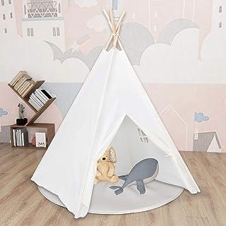LIUBIAONET Lektält – tunnel barn tipi-tält med ficka persikohud vit 120 x 120 x 150 cm