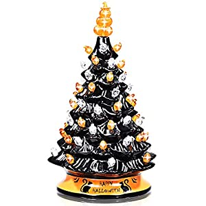 dreamade hand-painted black christmas tree, 15 inch battery powered tabletop ceramic halloween xmas decor, with 12 built-in lights, forever lighted holiday centerpiece silk flower arrangements