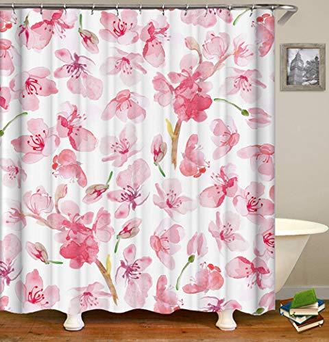 QHDHGR Duschvorhang Textil Duschvorhang Stoff mit Ringen Rosa und Pfirsichblüte Duschvorhang Badevorhang Digitaldruck Polyester Anti Schimmel Größe:B150 x H180cm