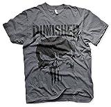 Photo de Officiellement sous Licence Marvel's The Punisher Big Skull T-Shirt pour Hommes (Heather Foncé), X-Large