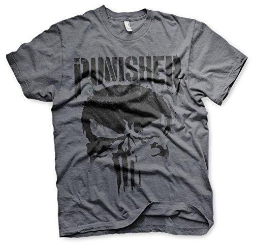 Offizielles Lizenzprodukt Marvel's The Punisher Big Skull Herren T-Shirt (Dunkel Heather), XX-Large