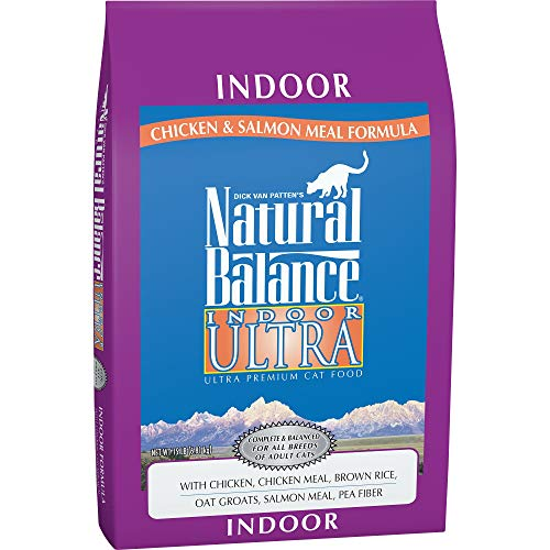 Natural Balance Indoor Ultra Premium Dry Cat Food, Chicken, Chicken Meal, Brown Rice, Oat Groats, Salmon Meal & Pea Fiber Formula, 15 Pounds